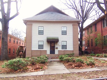 Apartment Building at 604 N. pine with brick face and siding, walkway and landscaping - Little Rock House Rentals